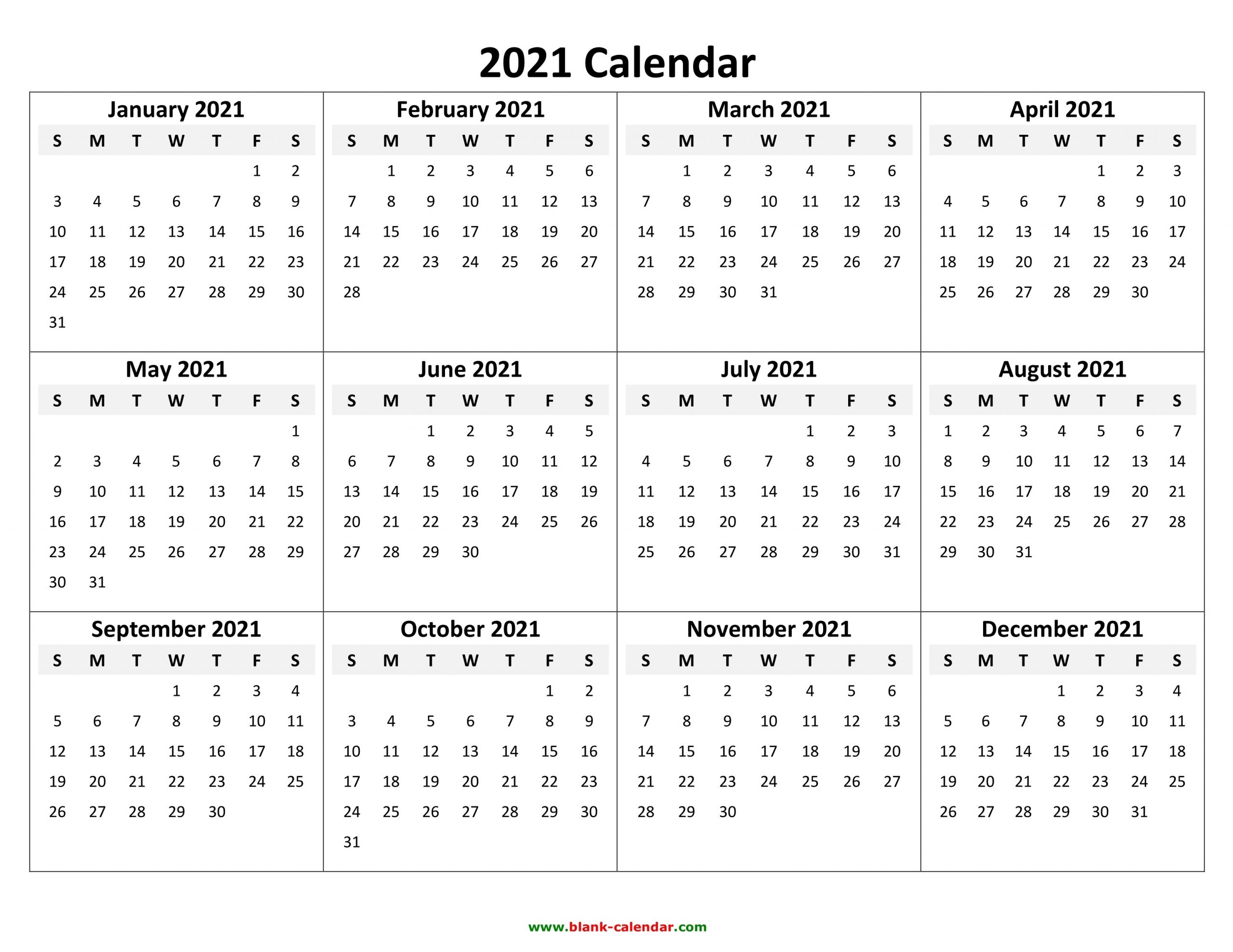 Yearly Calendar 2021 | Free Download And Print  2021 Yearly Calendar Free Pdf Printable