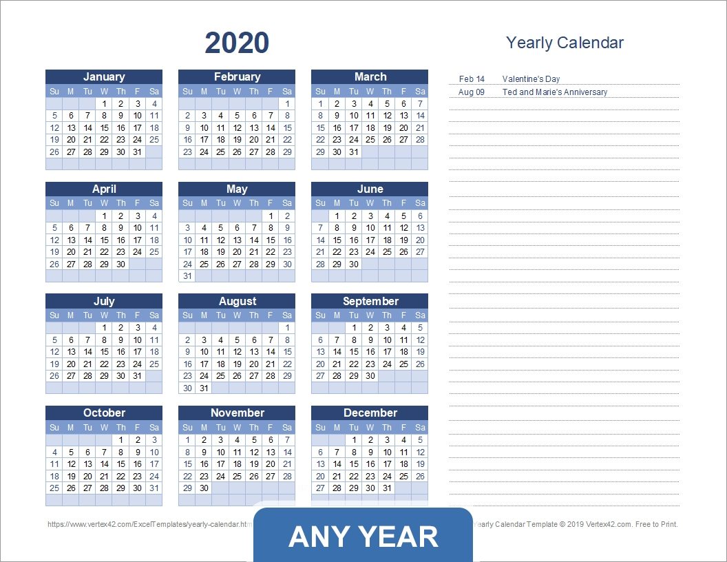 Yearly Calendar Template For 2020 And Beyond  Download Financial Year Calendar
