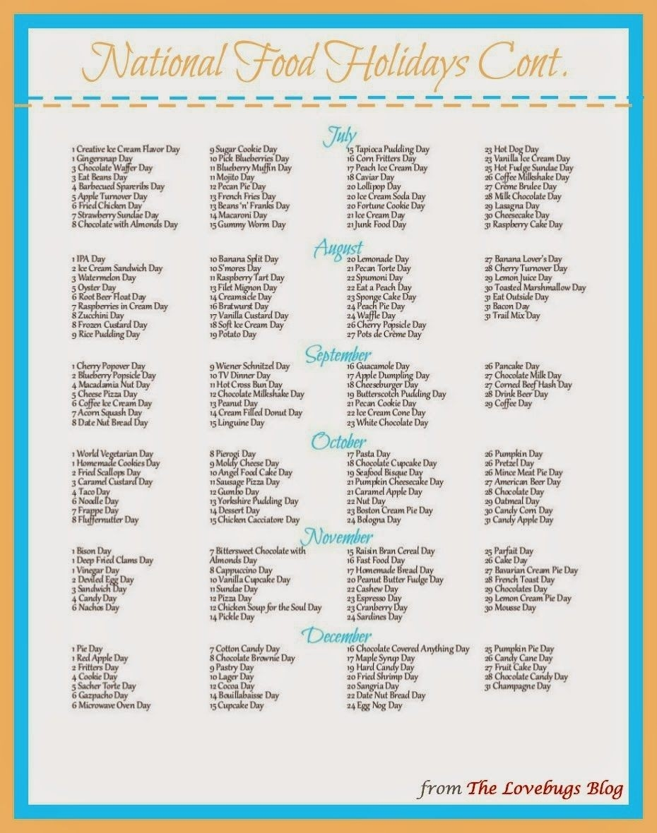 You Searched For National Food Holidays - The Lovebugs Blog  Food Of The Day Calendar