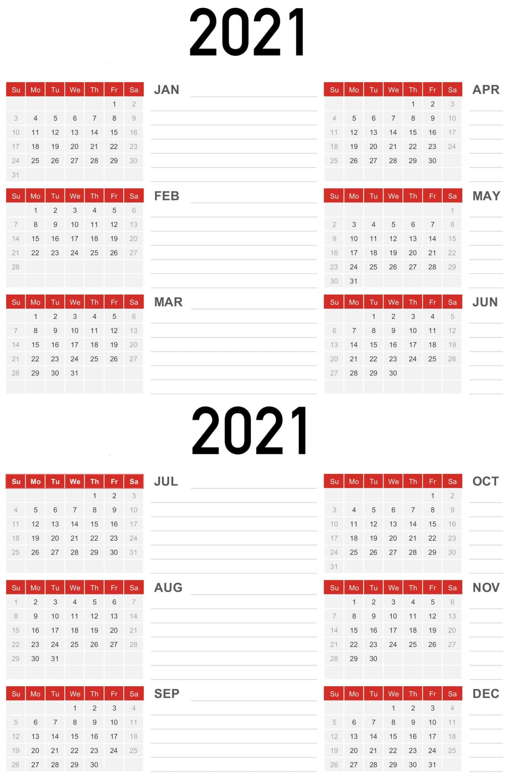 1 Year Small Calendar 2021 Template | Free Printable  Financial Year Dates 2021 2021