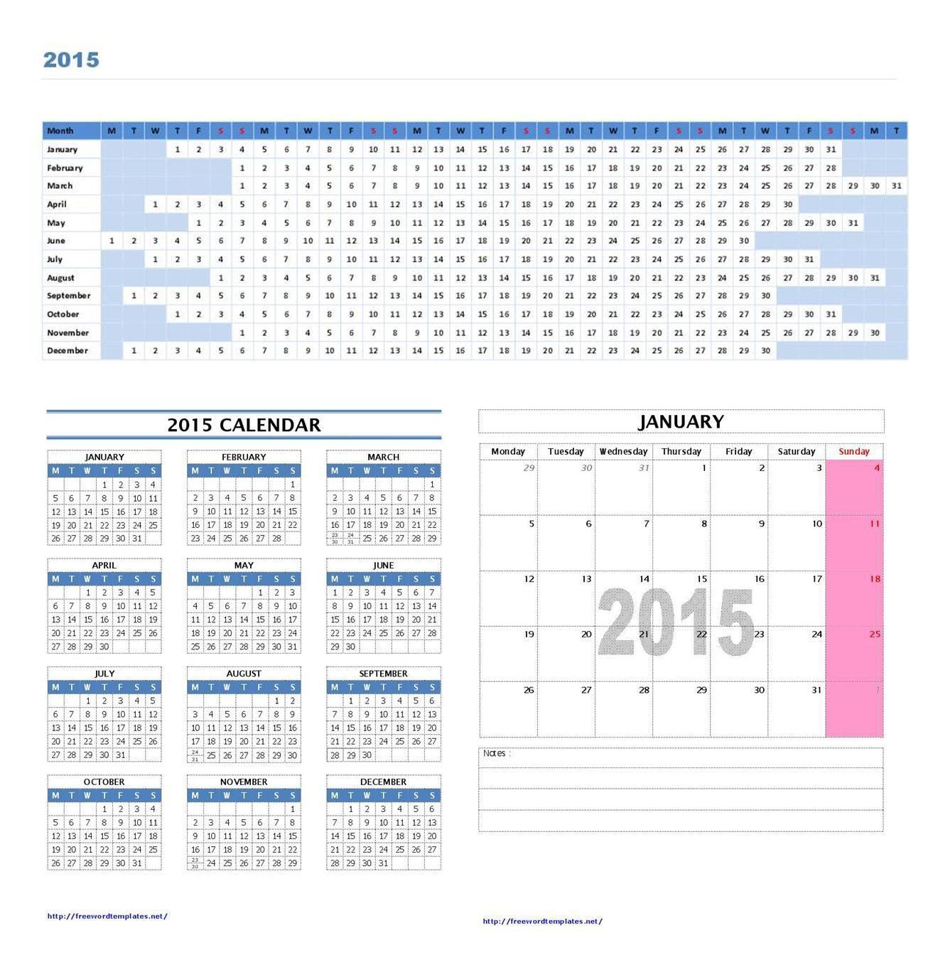 12 Month Calendar 2015 Template  12-Month Calendar Template
