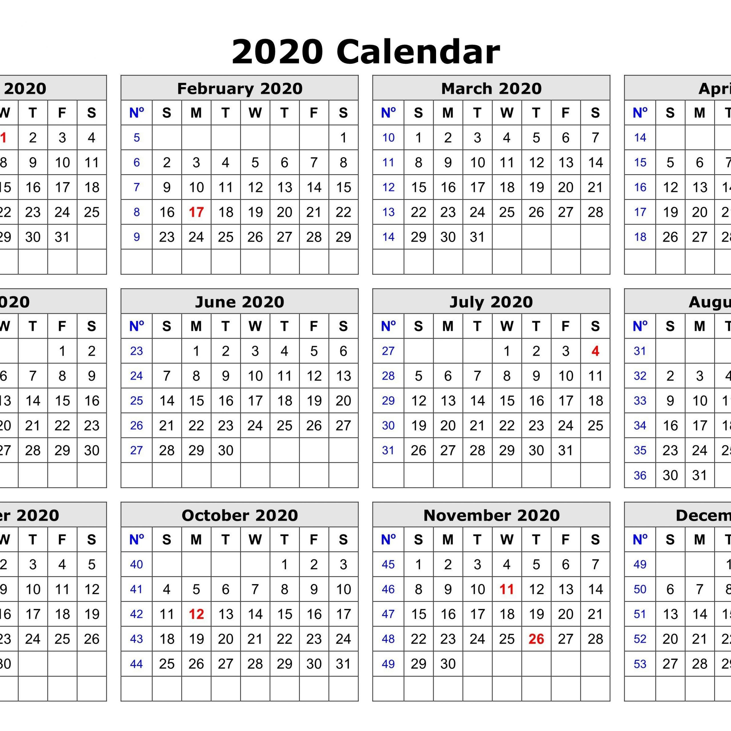 12 Month Calendar 2020 One Page | Free Printable Calendar  12 Month Calendar Printable