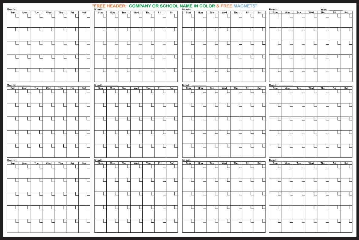 12 Month Calendar | Free Printable Calendar, Free Calendar  12 Month Printable Calendar Template