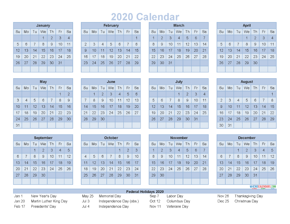 12 Month Calendar On One Page 2020 Printable Pdf, Excel  12 Month Calendar Printable