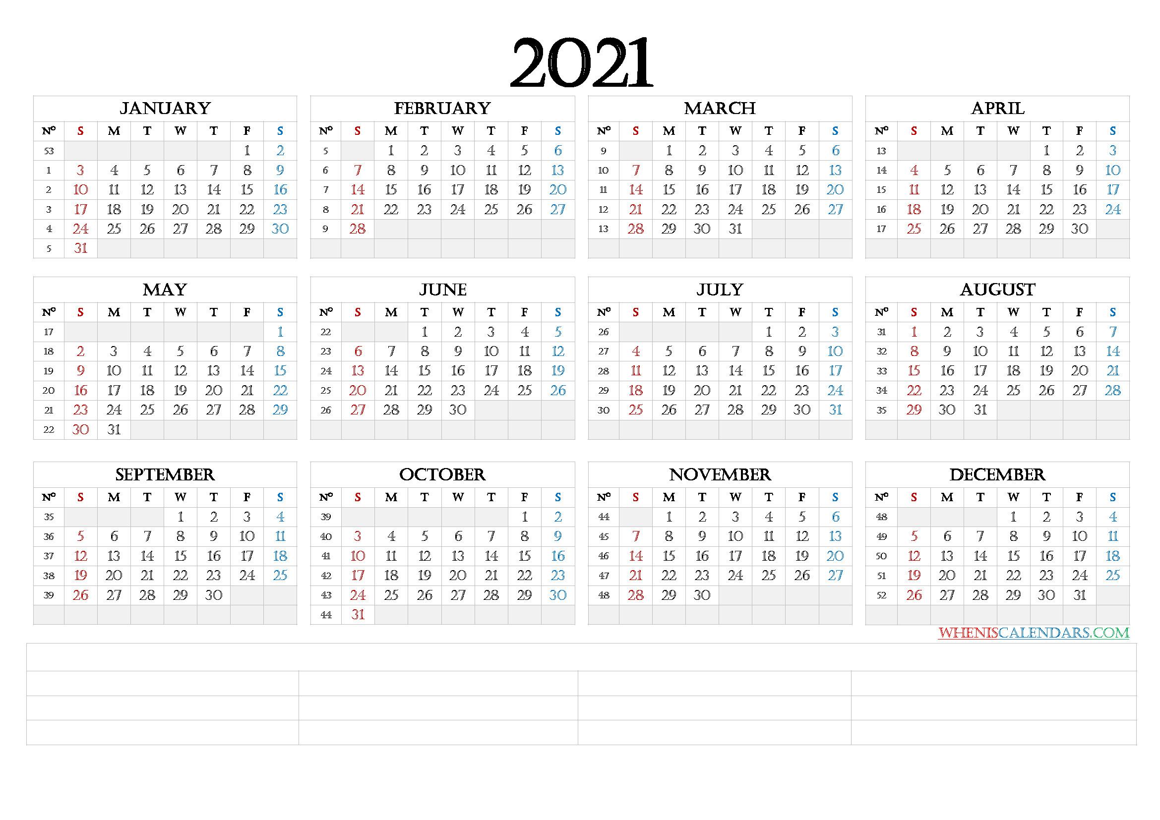 12 Month Calendar Printable 2021 (6 Templates) - Free 2020  2021 12 Month Calendar Printable Free Pdf