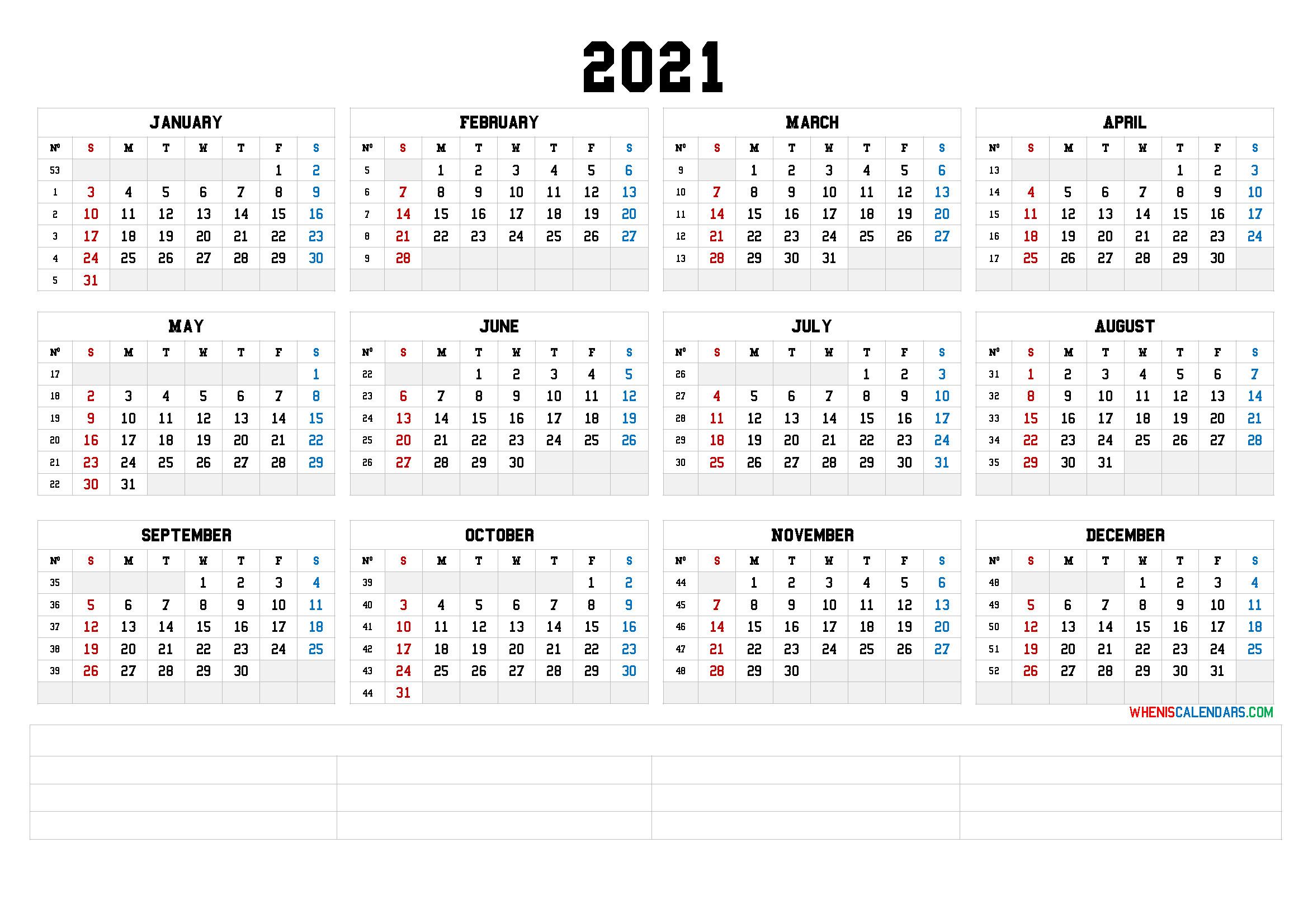 12 Month Calendar Printable 2021 (6 Templates)  Free Printable 12 Month Calendar 2021