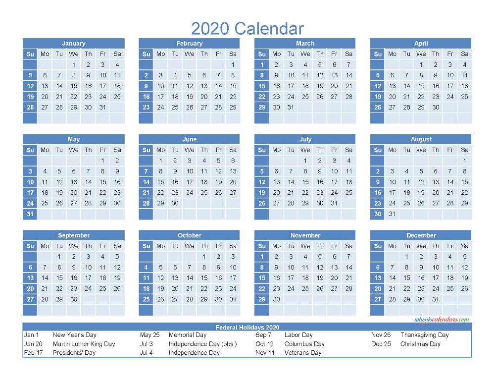 12 Month Printable Calendar 2020 With Holidays - Free  12 Month Calendar Printable