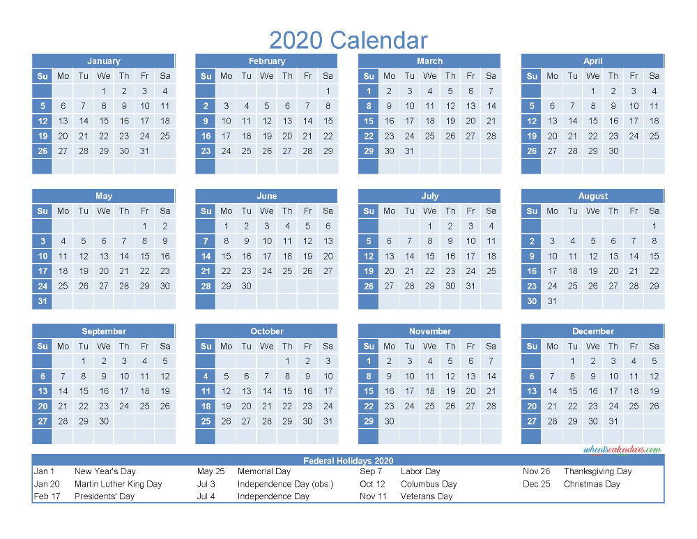 12 Month Printable Calendar 2020 With Holidays - Free  12 Month Printable Calendar Template