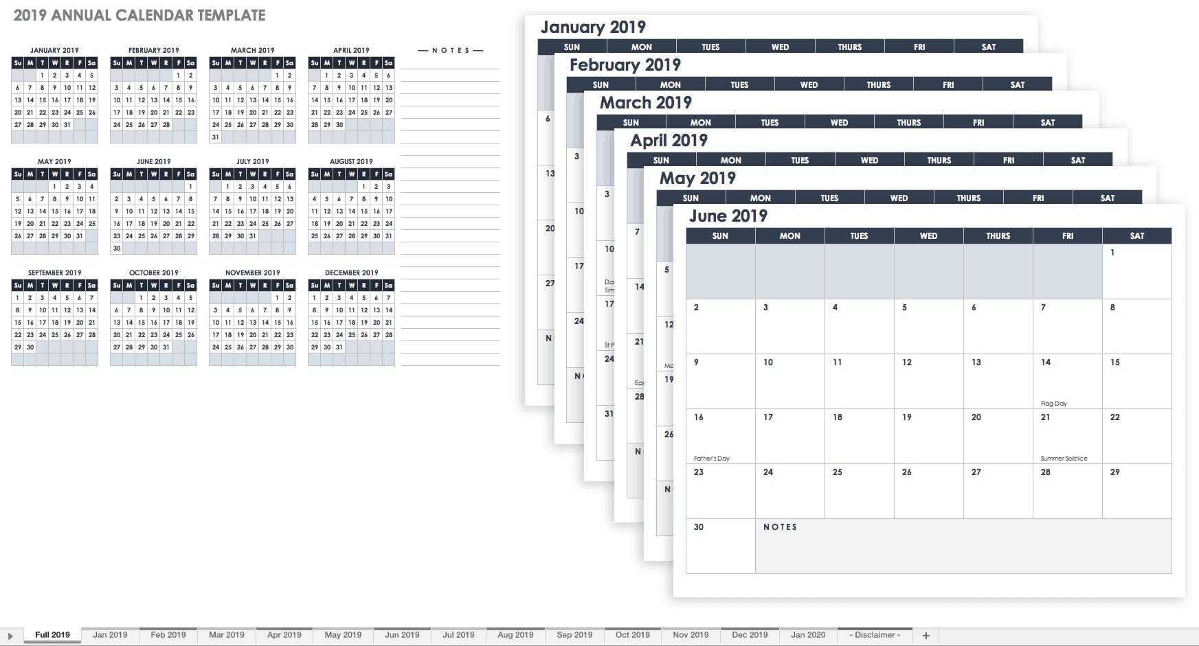 15 Free Monthly Calendar Templates | Smartsheet  12-Month Calendar Template