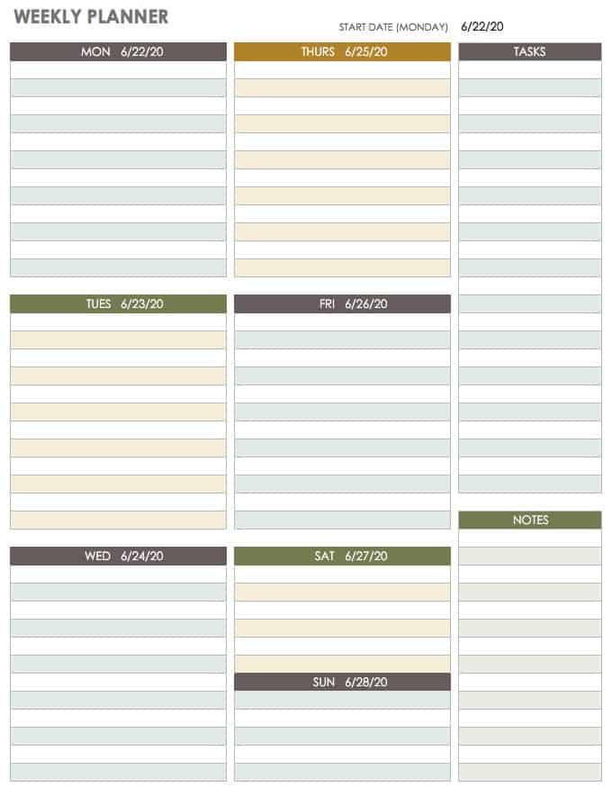 15 Free Weekly Calendar Templates | Smartsheet  7 Day Printable Weekly Calanders