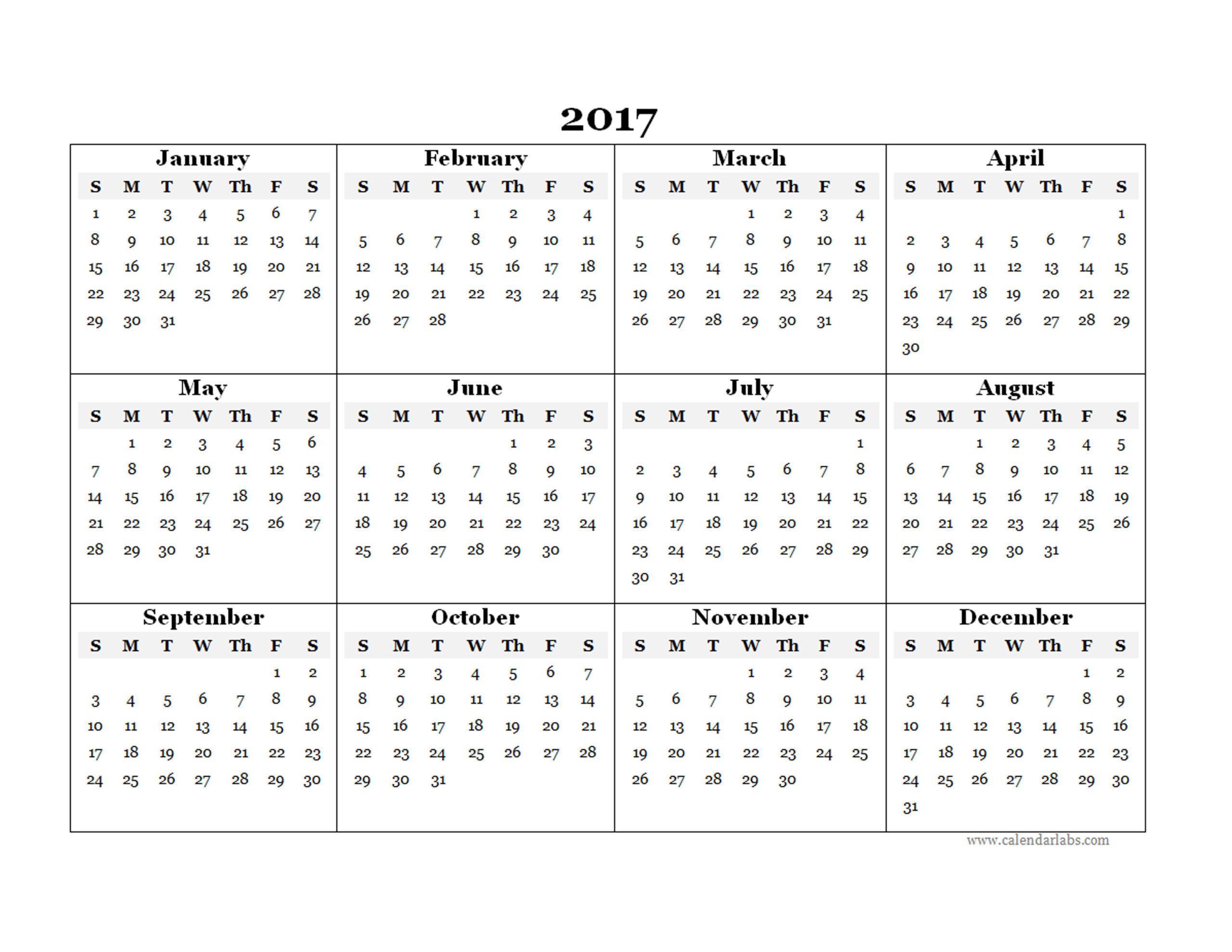 2017 Blank Yearly Calendar Template - Free Printable Templates  Yearly Calendar