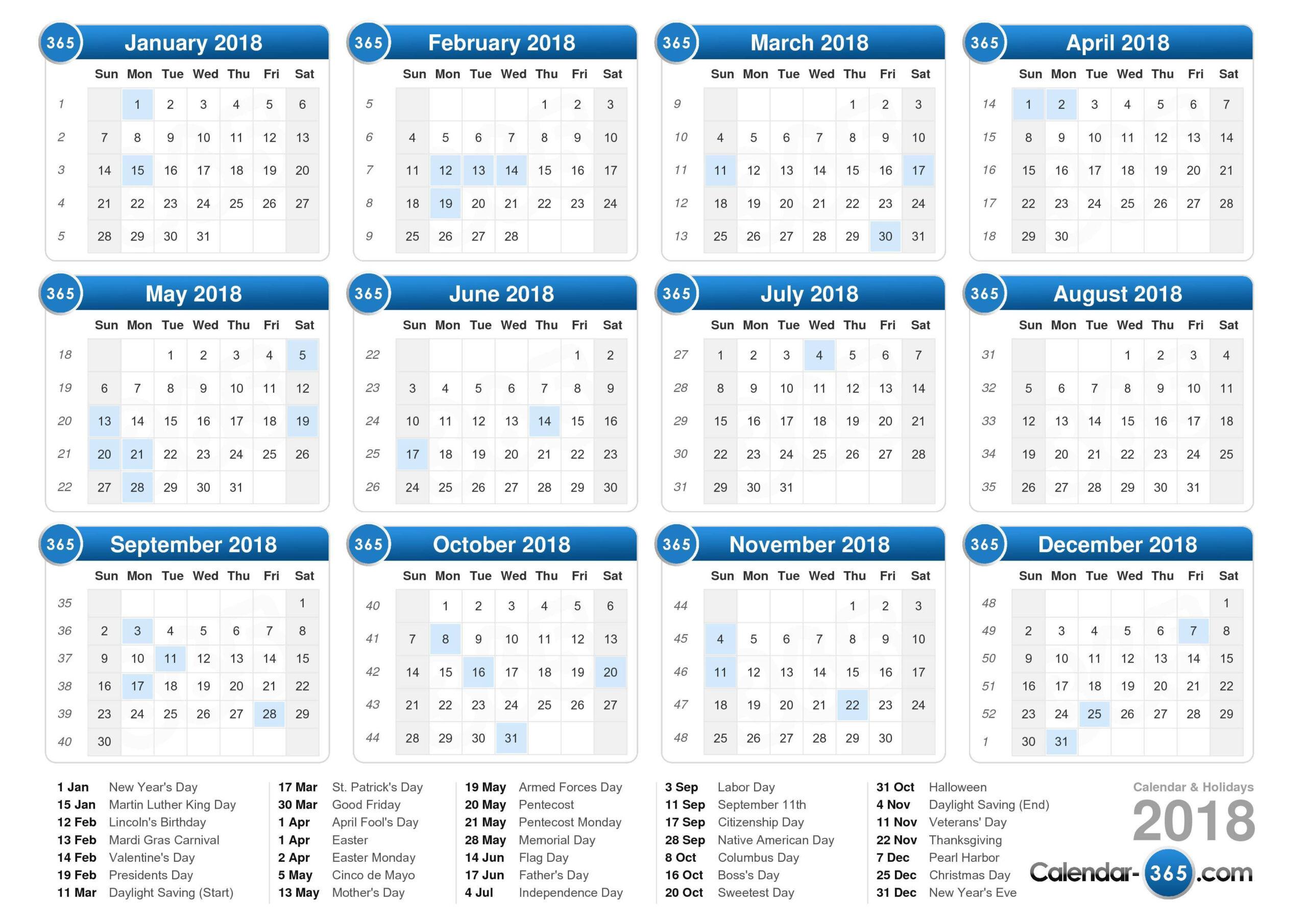 2018 Calendar  Calender Last Financial Year
