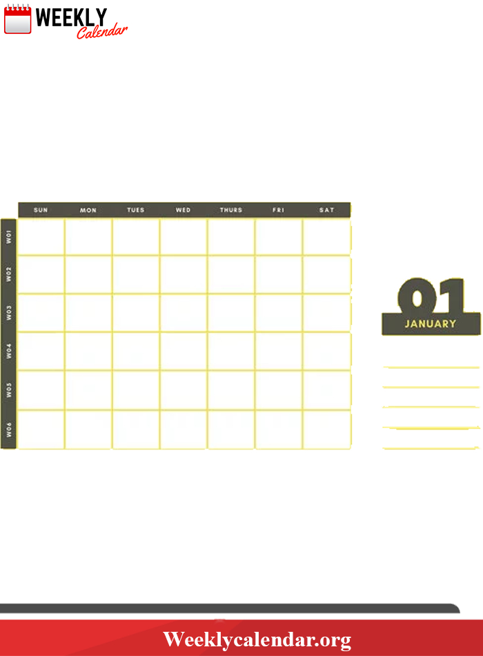 2019 Blank Weekly Calendar Printable In Pdf, Word & Excel  3 Month Calendar Template For Word