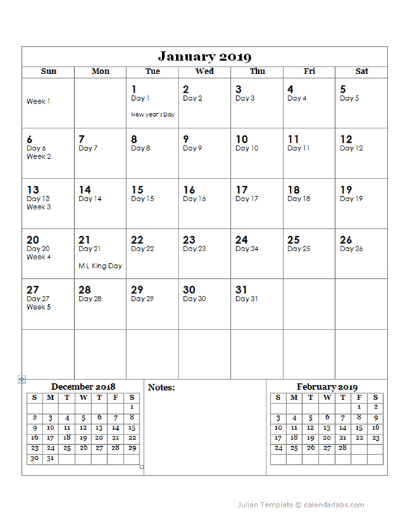 2019 Julian Day Calendar - Free Printable Templates  Julian Code 9197 For 2021