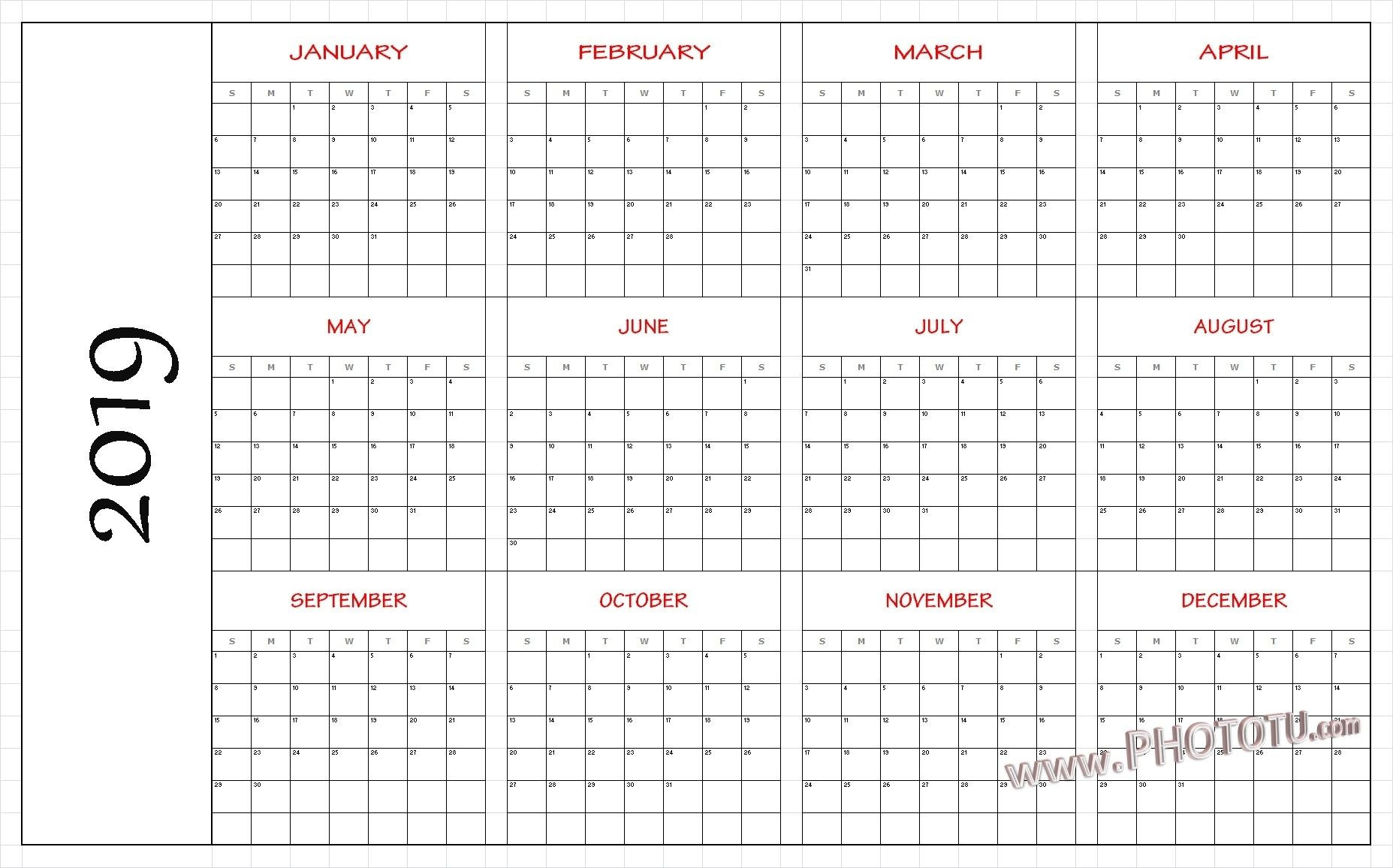 2019 Printable 12 Month One Page Calendar Template Pdf  Printable Word Calendar With Lines