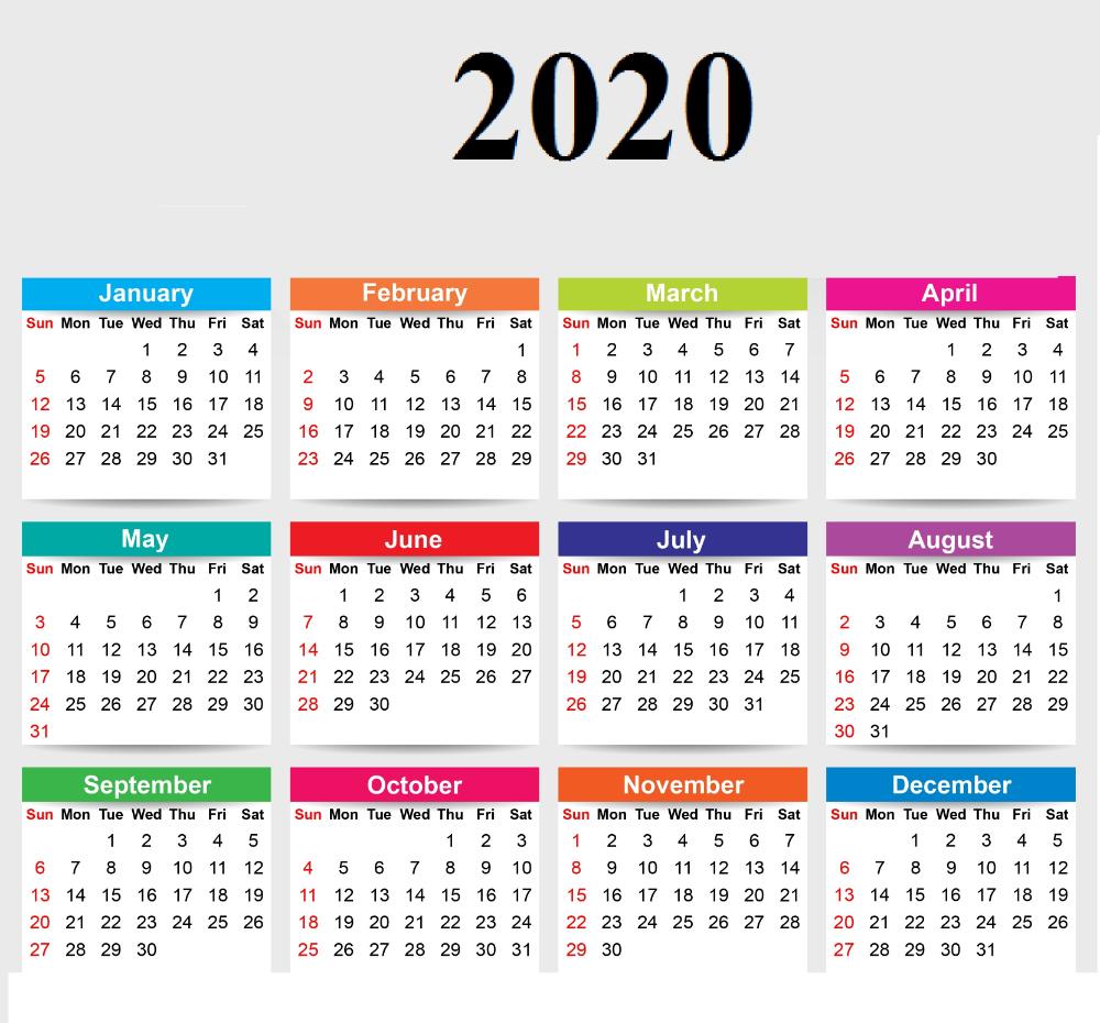 2020 12 Month Single File Calendar Printable Free  Yearly Calendar