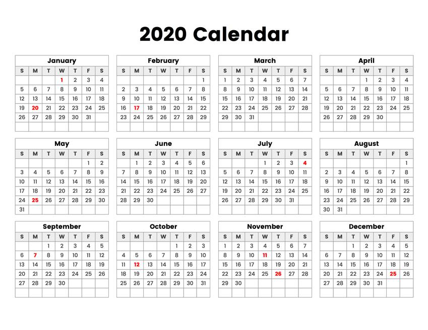 2020 Blank Calendar Template In Editable Format (Pdf, Word)  Printable Word Calendar With Lines