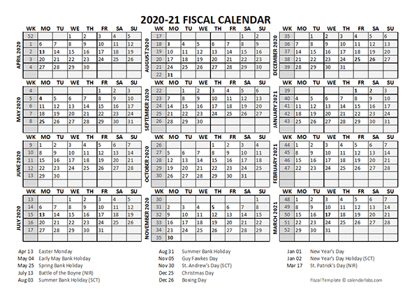 2020 Fiscal Calendar Template Starts At April - Free  Fiscal Year Autralia