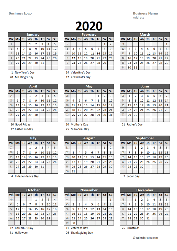 2020 Yearly Business Calendar With Week Number - Free  Financial Year Australia Dates