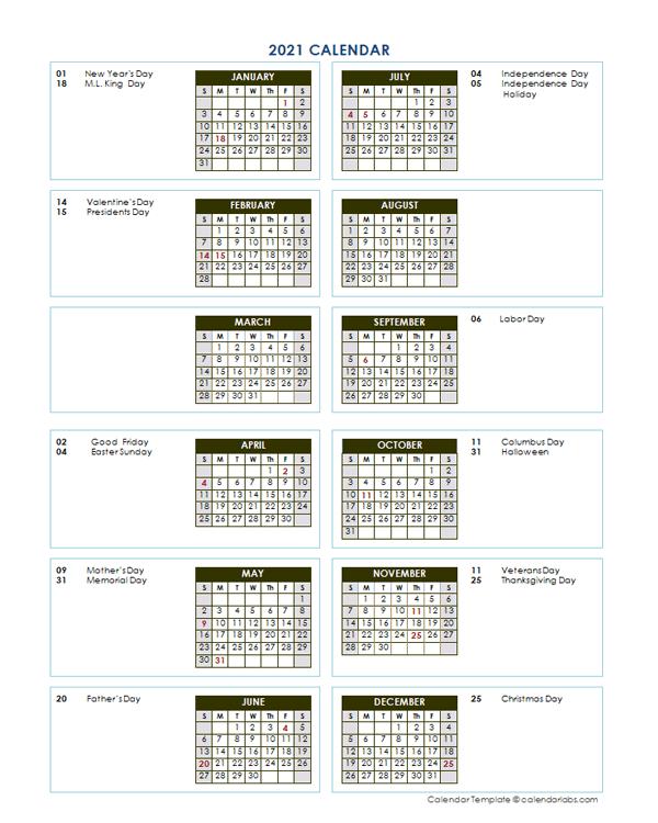 2021 Annual Calendar Vertical Template - Free Printable  Julian Calendar 2021 Excel