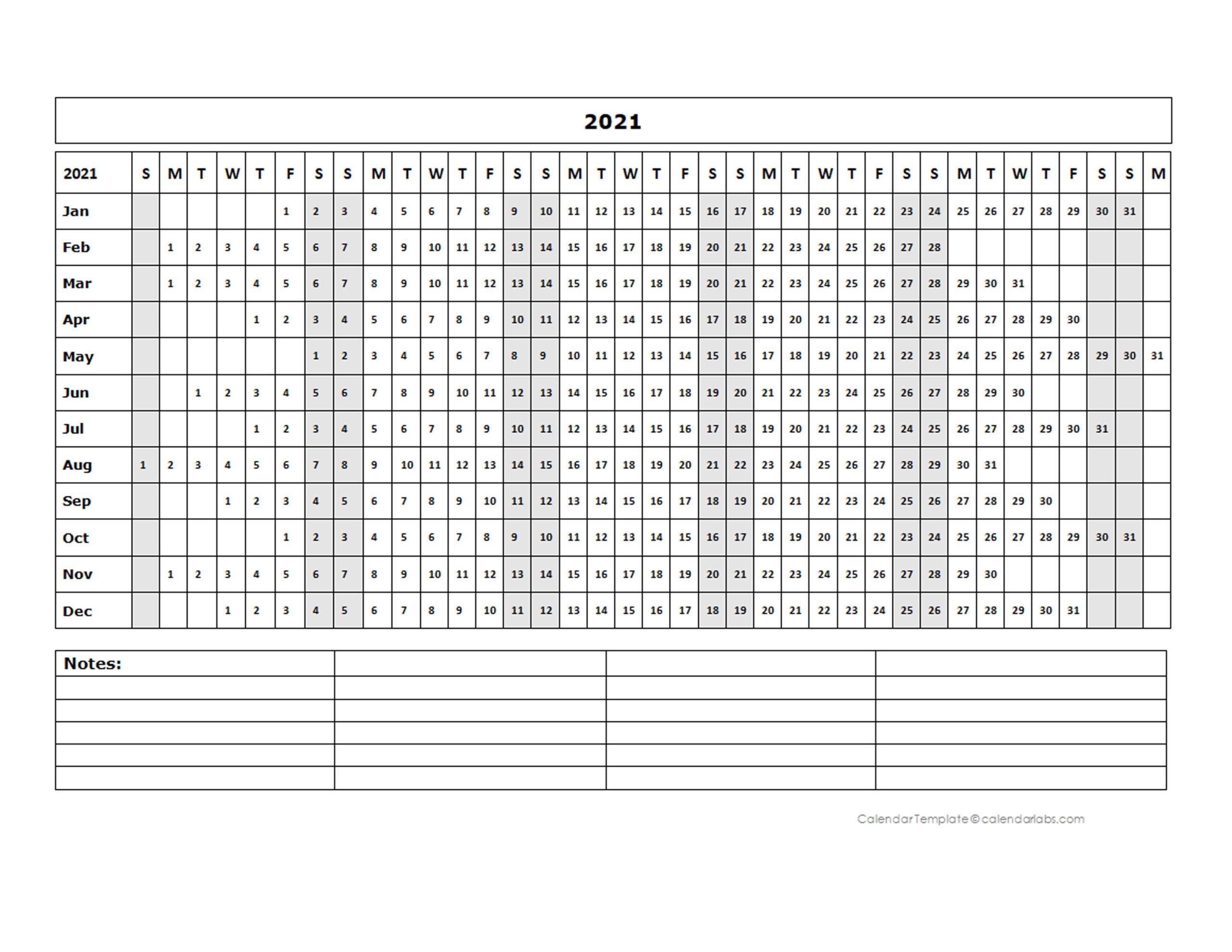 2021 Blank Landscape Yearly Calendar Template - Free  Julian Calendar 2021 Excel