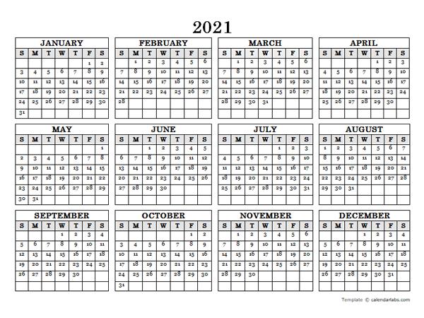 2021 Blank Yearly Calendar Landscape - Free Printable  Julian Calendar 2021 Excel