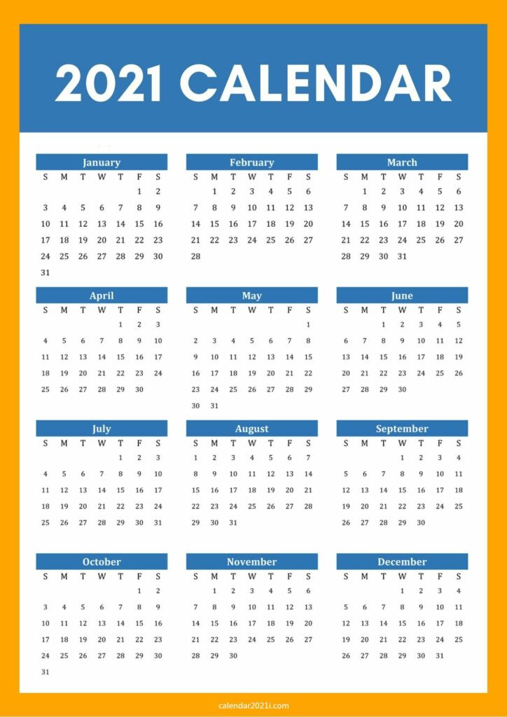 2021 Calendar A4 Size Printable Free Download  Free 2021 Calendar Printable