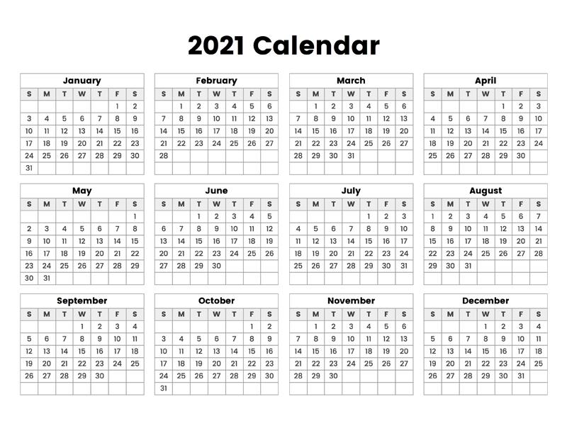 2021 Calendar - Calendar Options  Easy To Print 2021 Calendar