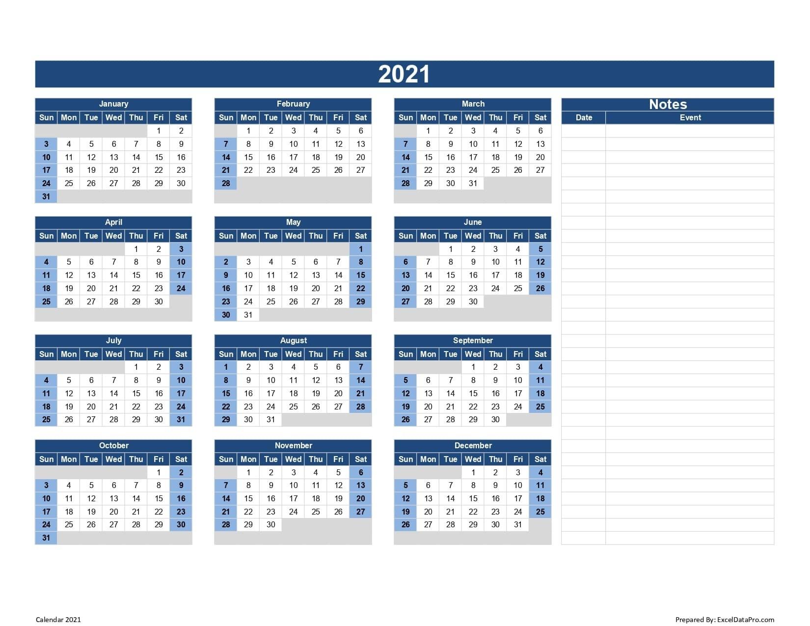 2021 Calendar Fill In | Calendar Template Printable  2021 Yearly Calendar Printable Free