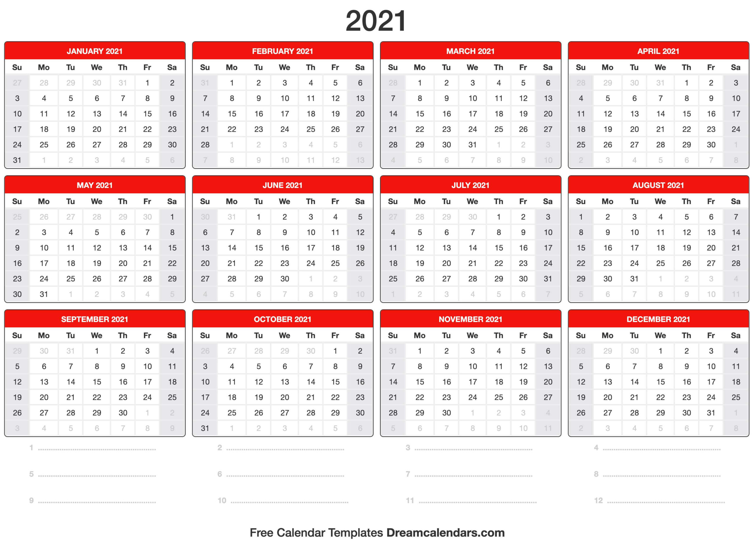 2021 Calendar  Full Page Printable Monthly Calendar 2021