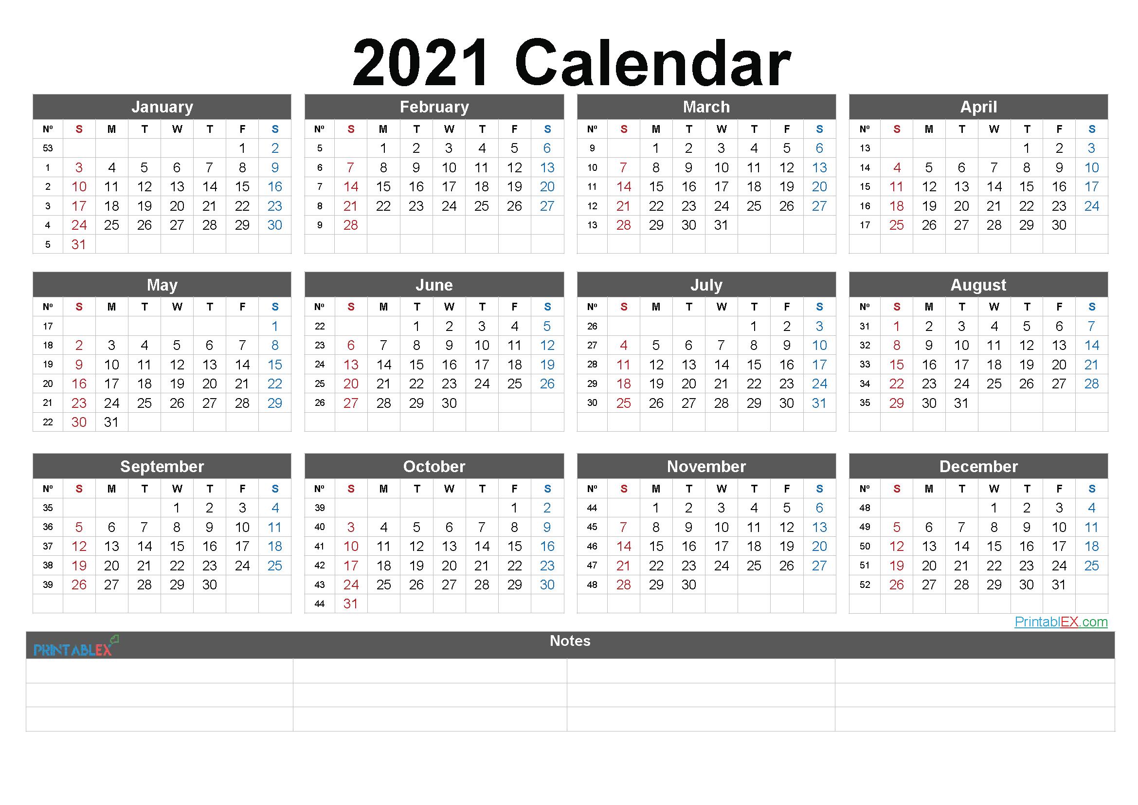 2021 Calendar In Excelweek | Calendar Printables Free  Free 2021 Calendar Printable