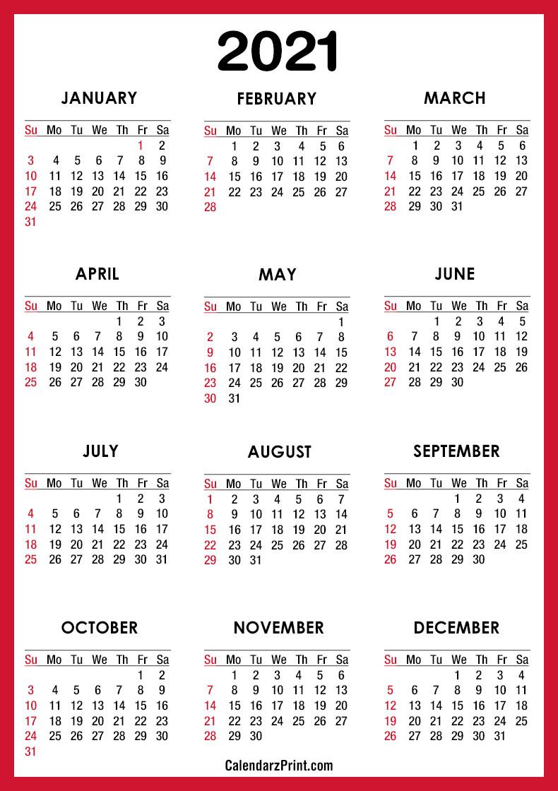 2021 Calendar Pdf - Printable, Red, Ss - Calendarzprint  Free 2021 Calendar Printable