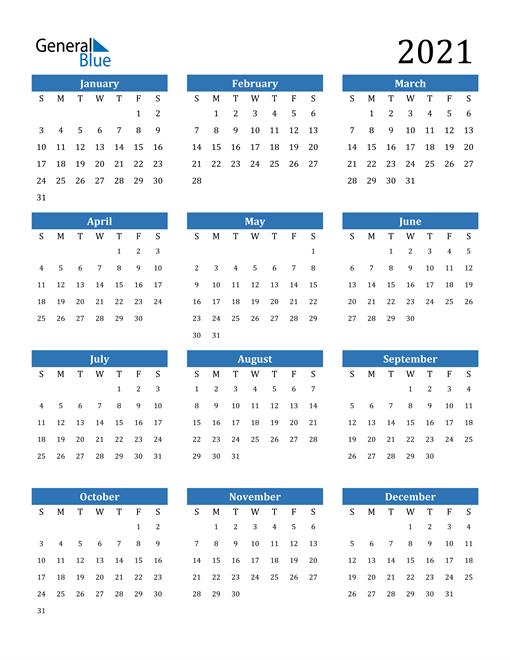 2021 Calendar (Pdf, Word, Excel)  Easy To Print 2021 Calendar
