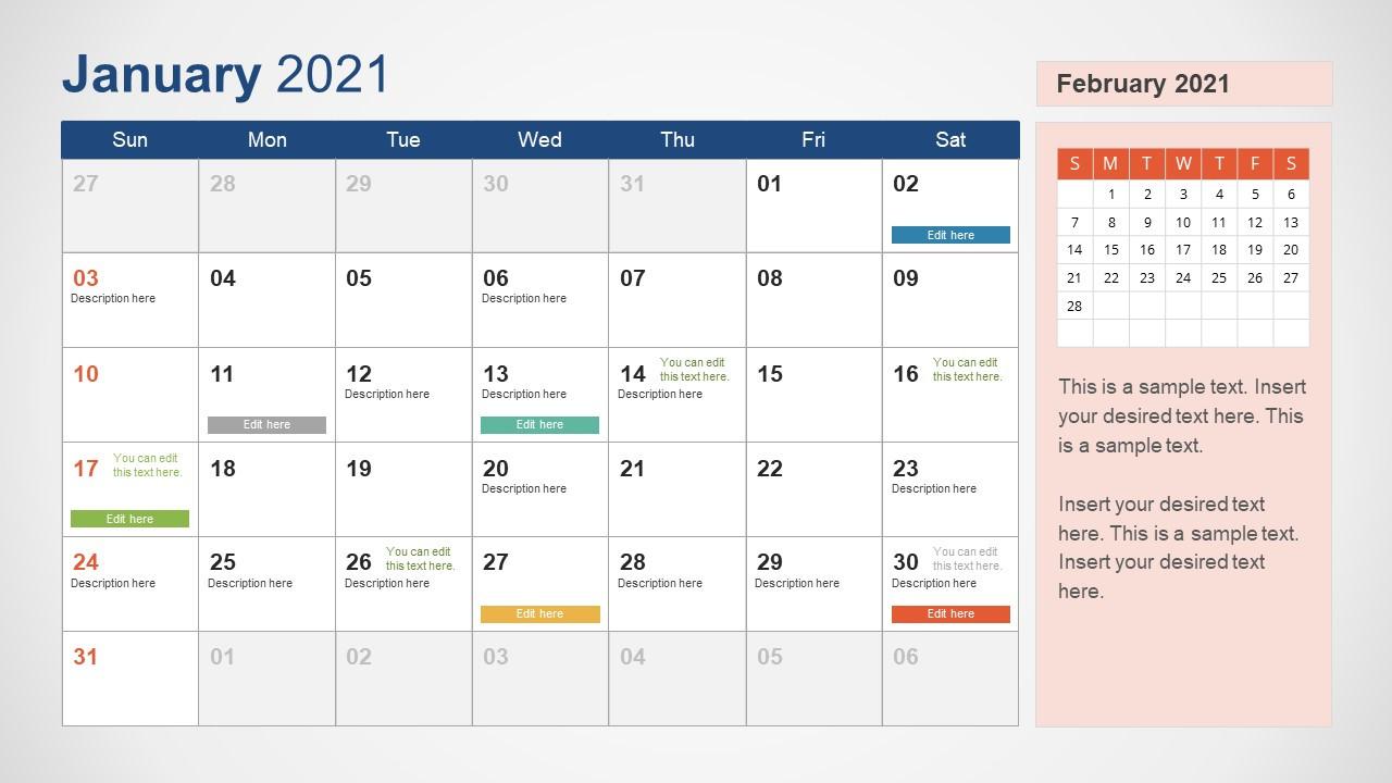 2021 Calendar Powerpoint Template - Slidemodel  Plain Monthly Planner Template Portrait 2021
