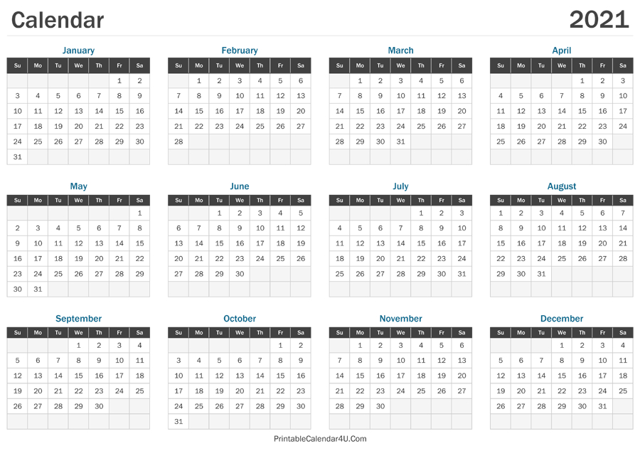 2021 Calendar Printable  2021 Calendar Template Large Print
