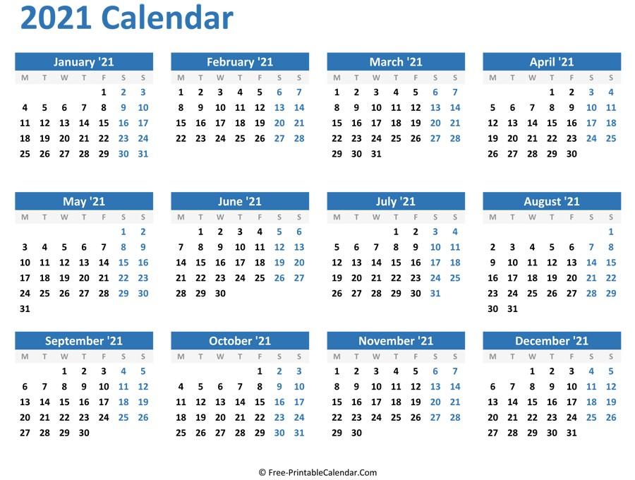 2021 Calendar Printable Academic Full Page | Free  2021 2021 Monthly Calendar Printable Free