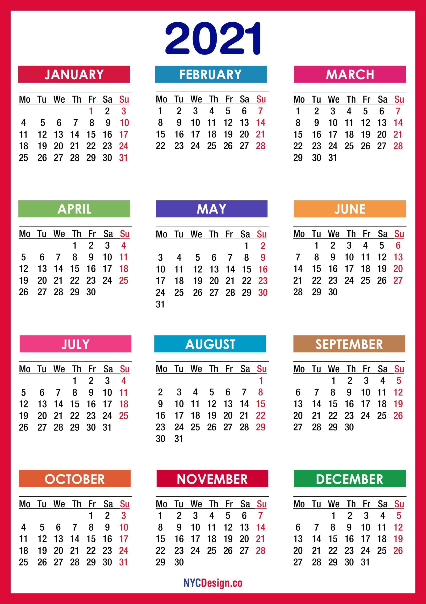 2021 Calendar Printable Free, Pdf, Colorful, Red, Orange  Easy To Print 2021 Calendar