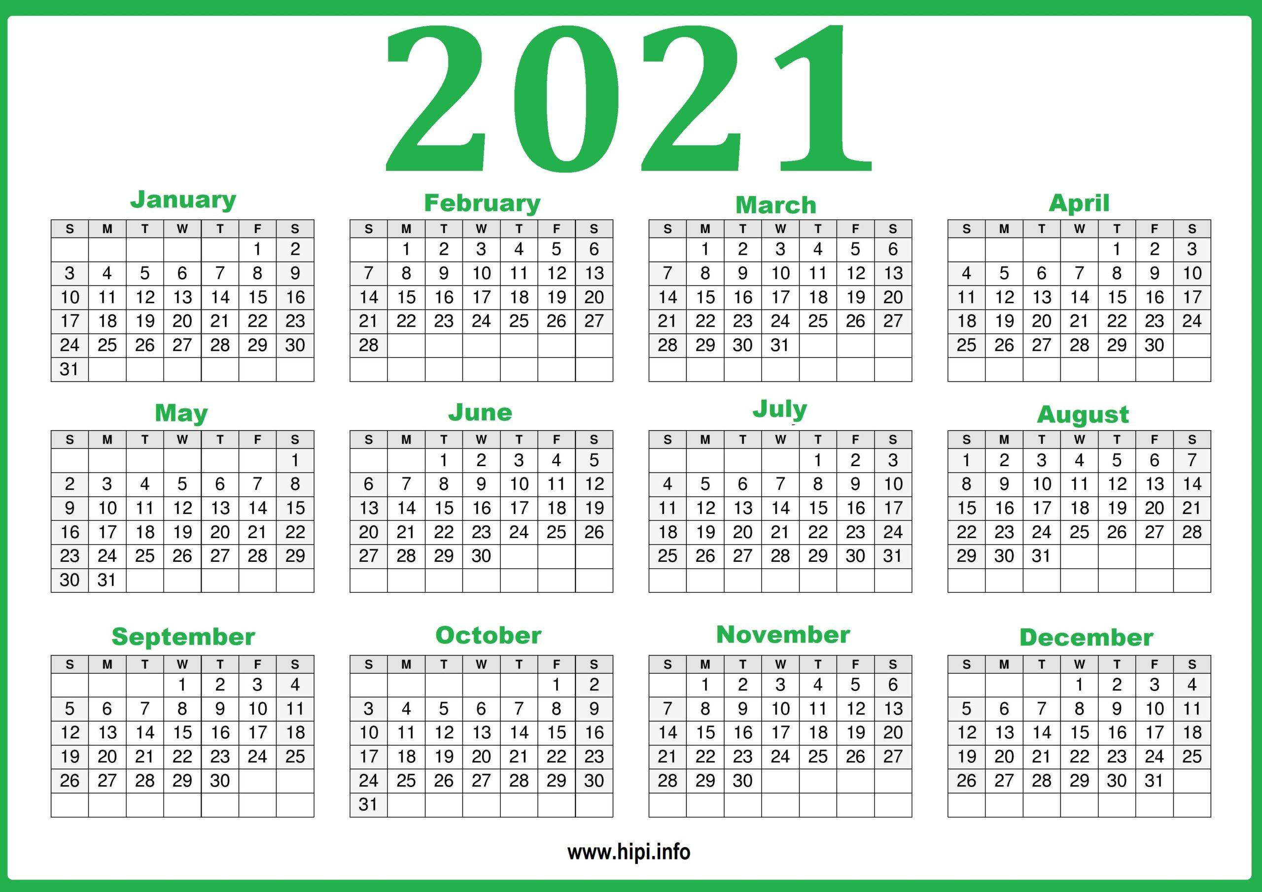 2021 Calendar Printable Yearly Template - Hipi  Free 2021 Calendar Printable