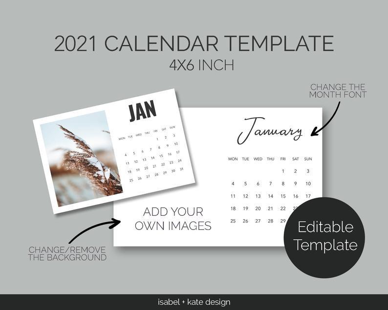 2021 Calendar Template Editable 4X6 Inch 12 Month   Etsy  Printable 4X6 Calendar Template
