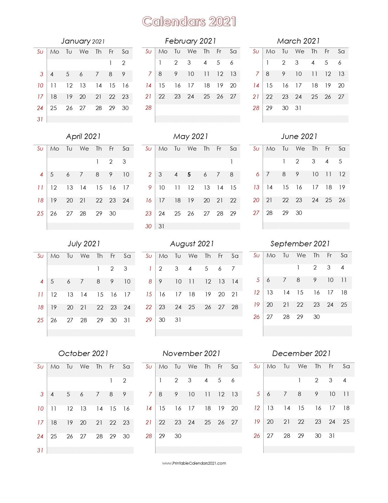 2021 Calendar To Fill In | Calendar Template Printable  Fillable 2021 Calendar Template
