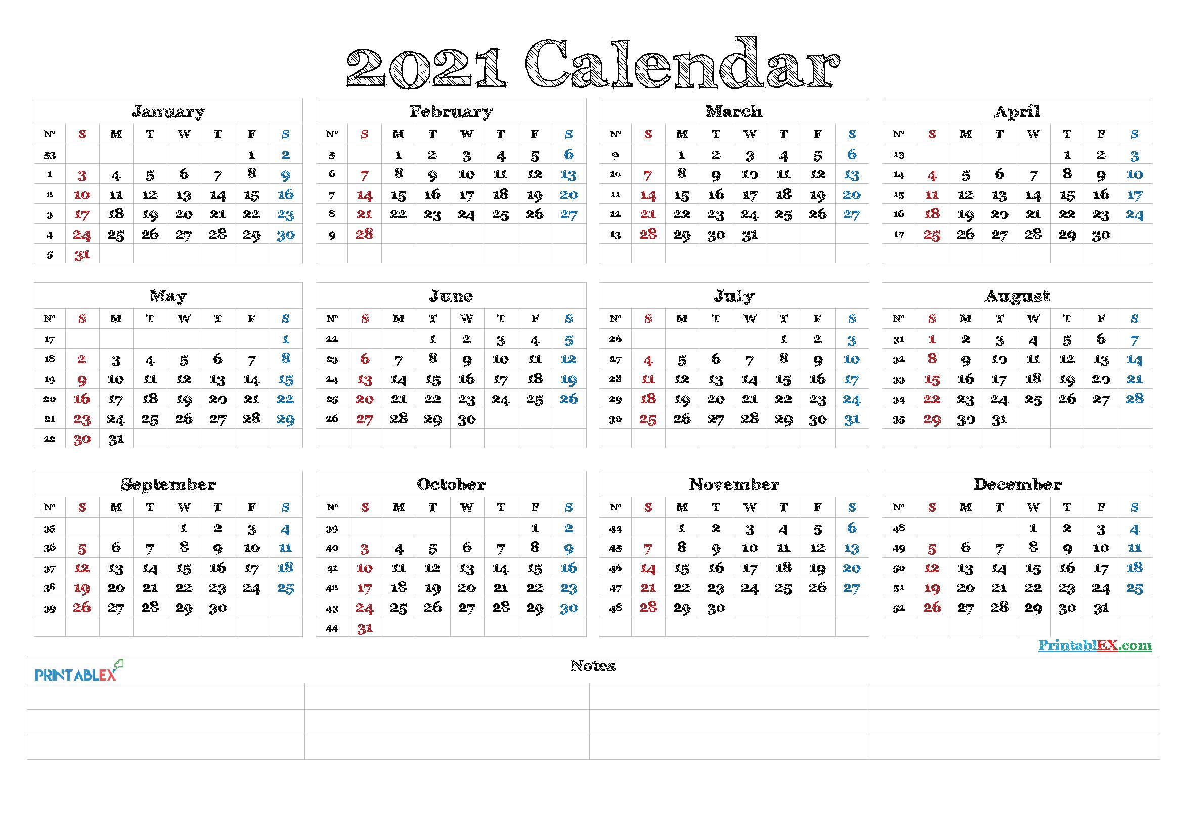 2021 Calendar With Week Numbers Printable - 21Ytw82  4 Months Per Page Calendar 2021 Printable