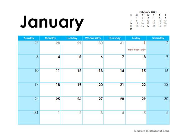 2021 Canada Monthly Calendar Colorful Design - Free  2021-21 Calendar Template Excel