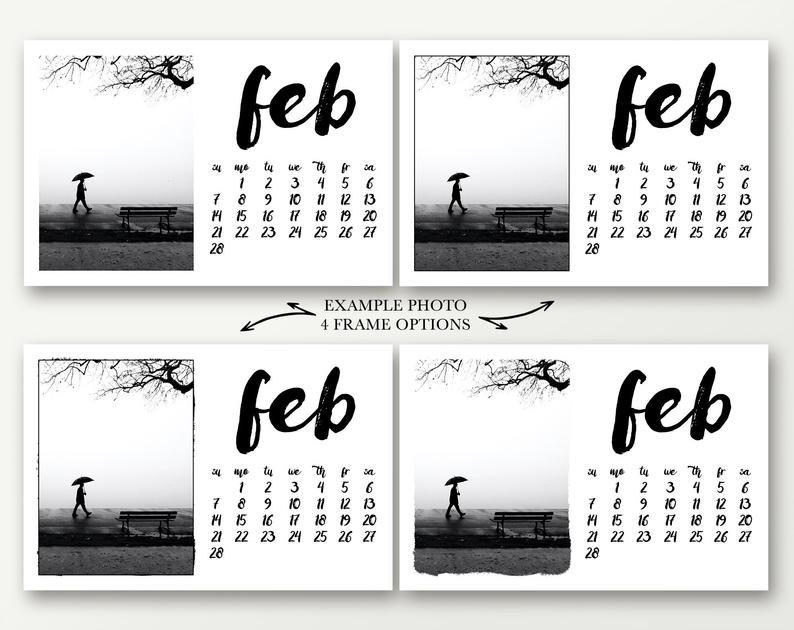 2021 Desk Calendar 4X6 Photo Calendar Template Editable   Etsy  Printable 4X6 Calendar Template