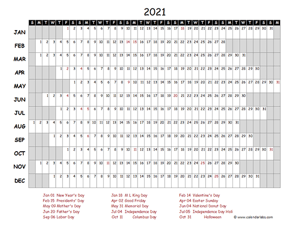 2021 Excel Calendar Project Timeline - Free Printable  2021-21 Calendar Template Excel
