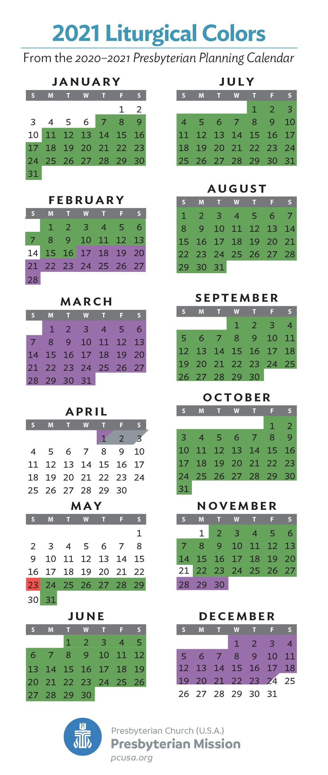 2021 Liturgical Colors - Presbytery Of St. Augustine  Printabel Lectionary Clalendar For 2021 Umc