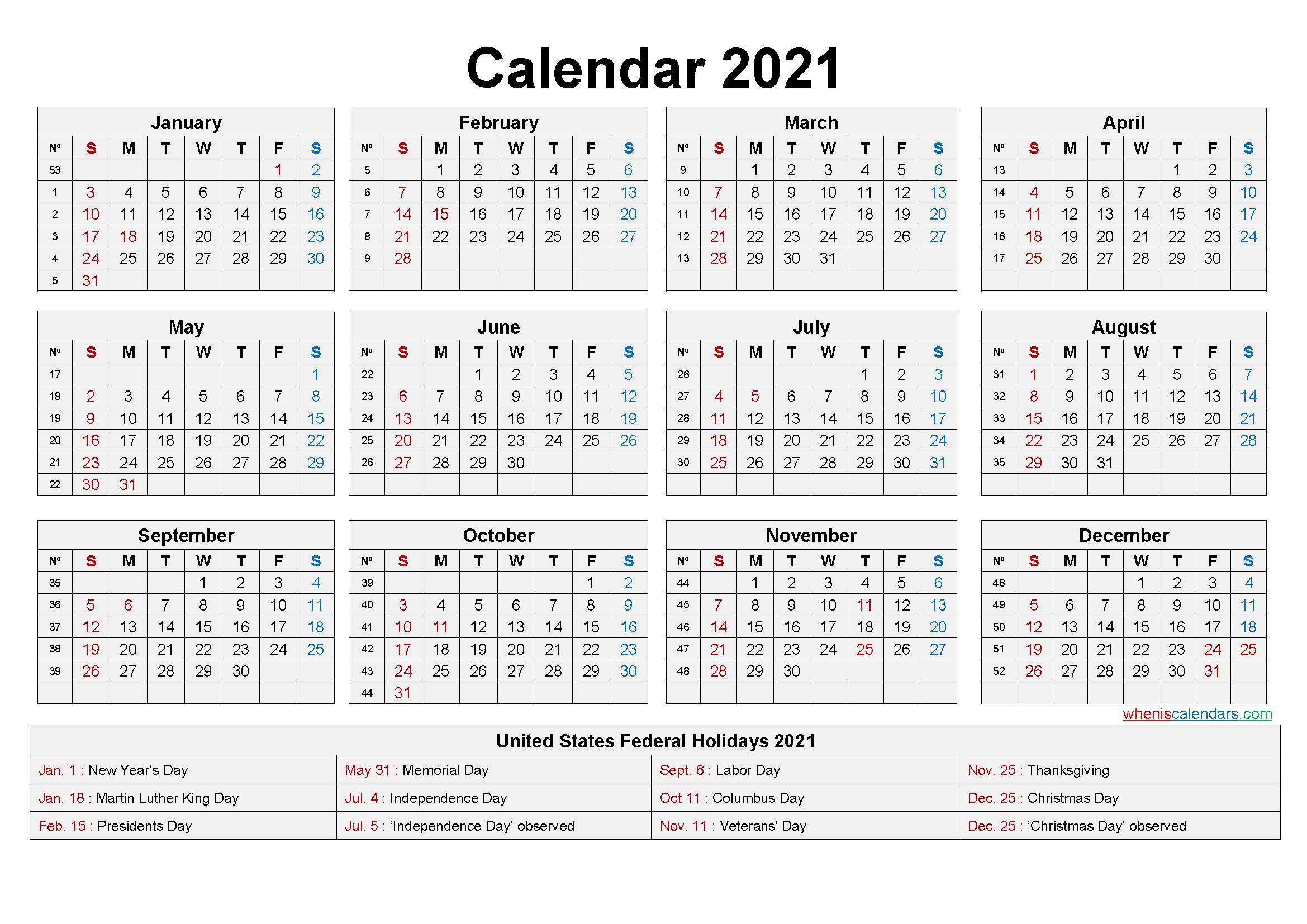 2021 Monthly Calendar With Holidays | Calendar Printables  2021 12 Month Calendar Printable Free Pdf