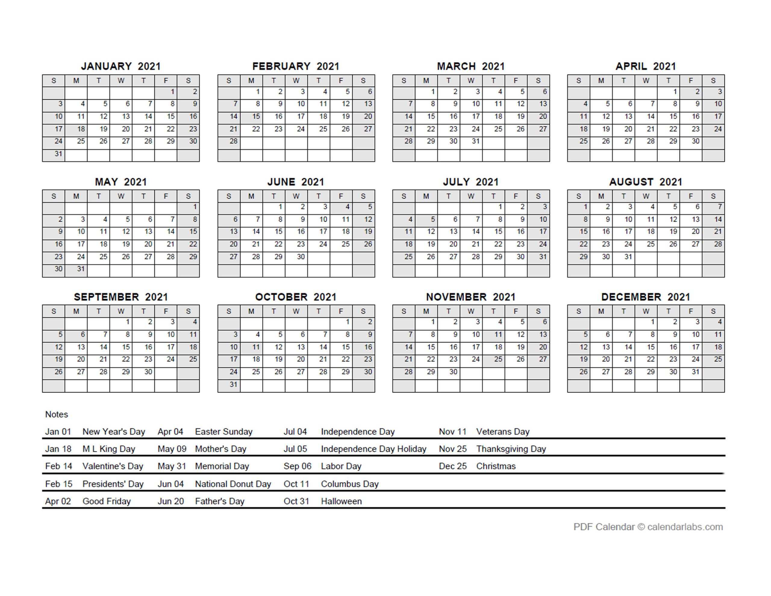 2021 Pdf Yearly Calendar With Holidays - Free Printable  Julian Calendar 2021 Excel