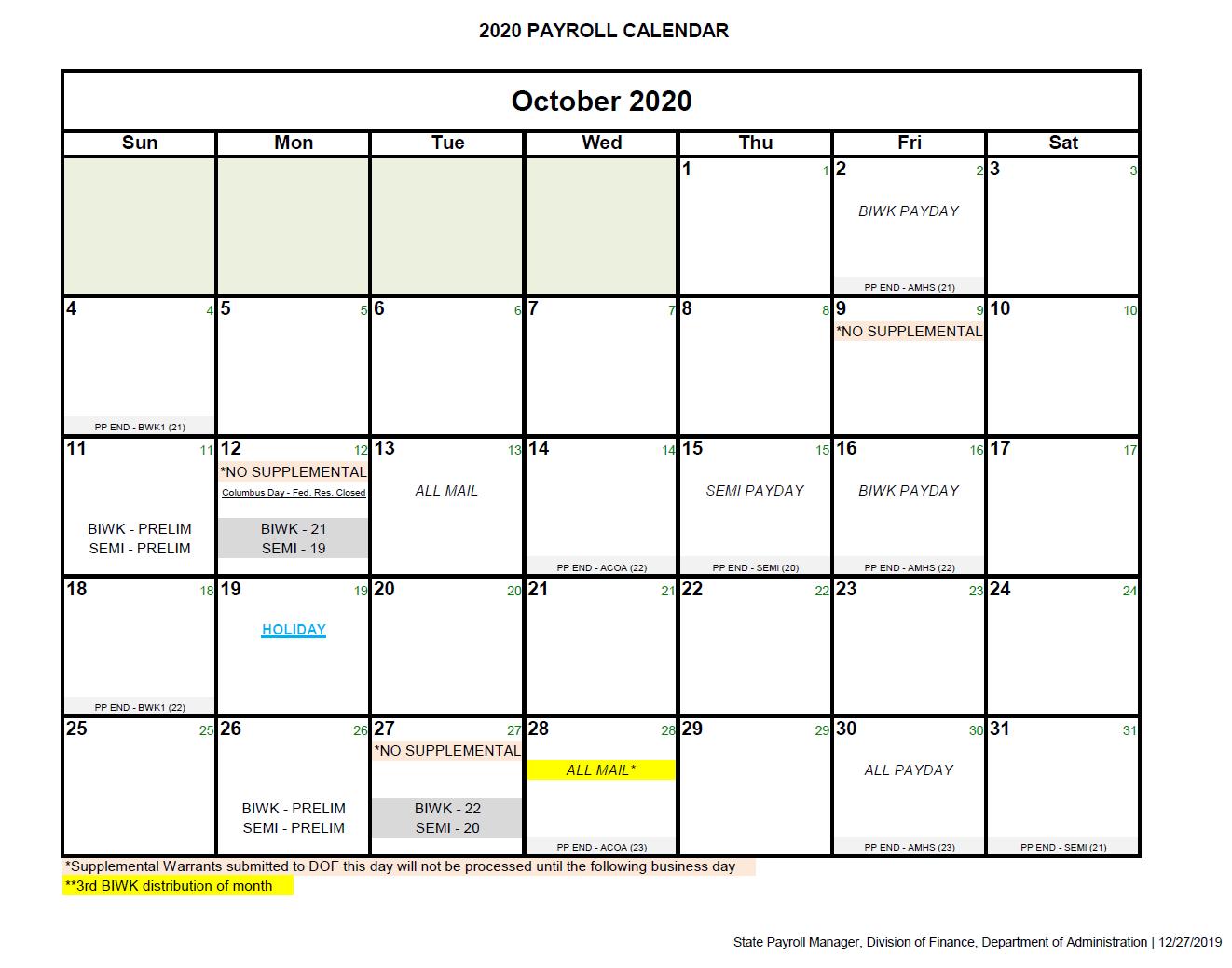 2021 Period Calendar : Federal Pay Period Calendar 2020  Federal Government Pay Period Chart Or 2021