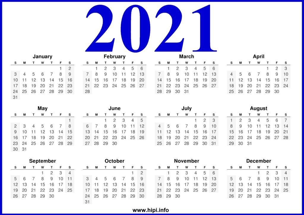 2021 Printable Calendar Free - Free Download - Hipi  Free 2021 Calendar Printable