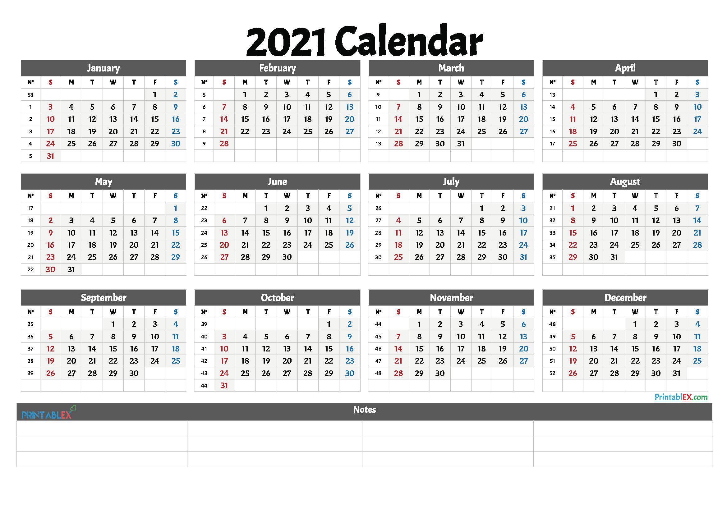 2021 Printable Calendar With Week Numbers   Free Printable  Free Printable 12 Month Calendar 2021